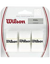 Wilson Pro Overgrip, Overgrips raqueta , Blanco, talla NS, pack de 3