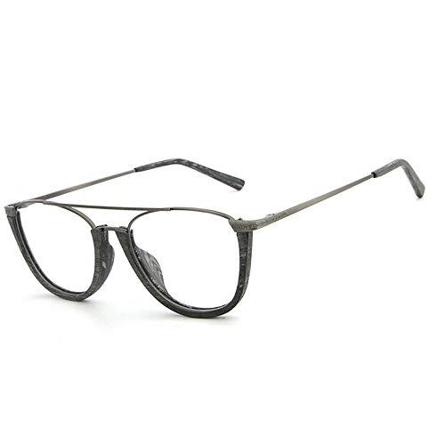 Retro Flat Glasses Frame Plain Gläser Platte Holzmaserung Half Frame Fashion Gläser Brille (Color : 01 Schwarz, Size : Kostenlos)
