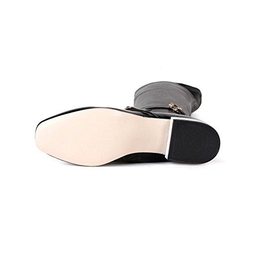 COOLCEPT Damen Elegant Flach Fesselriemen Stiefeletten Pointed Toe Reißverschluss über kniehohe Stiefel Schwarz