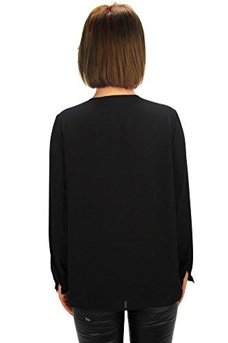 Edle Chiffon Bluse mit Schleife am Halsausschnitt und lange Ärmel Schwarz