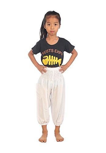 Lofbaz Kinder Hippy Gphsy Hose Jungen und Mädchen Ballonhose Weiß Größe 2T