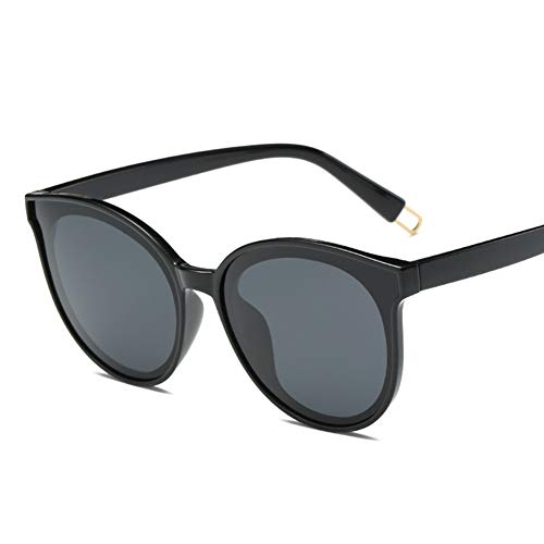 GTYHJUIK Runde Vintage Polarisierte Sonnenbrille Candy Farbe Double Circle Lens Mirror Lenses UV-Schutz Für Männer Und FrauenBlack Frame Gray Lens