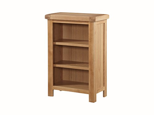 Newport Eiche massiv Low Slim Bücherregal – Eiche Kleines Bücherregal – Eiche Low Regal – Finish: Eiche hell rustikal, Home Office, Wohnzimmer Möbel (Slim Bücherregal)