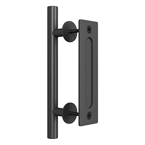 smartstandard 30,5cm Pull und Flush Tür Griff Set in schwarz Schiebetür Hardware Griff - Flush Spritzen