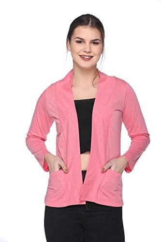 IN Love Shrugs for Women Cotton Full Sleeves (X-Large)(Dark Pink Melange)