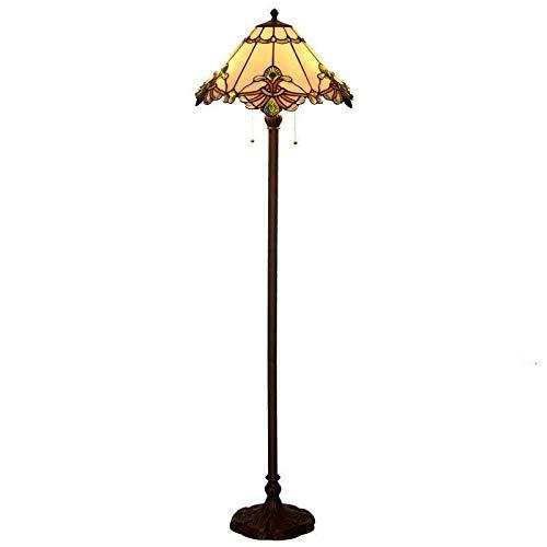 QCKDQ Luz de Piso de 17 Pulgadas, lámpara de pie Estilo Tiffany con lámpara de vidrieras de sermón Blanco cálido, Luces de decoración de Dormitorio E27, Max60w