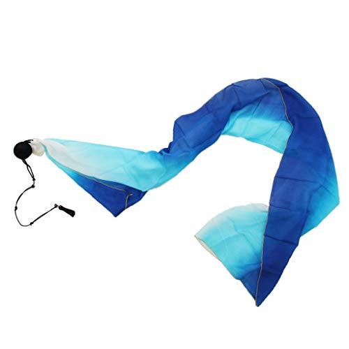 P Prettyia Flowy Seta Velo con Palle da Lancio Per Danza Del Ventre Accessori Per Il Ballo Di Yoga - Turqoise blu, 200 x 70 cm