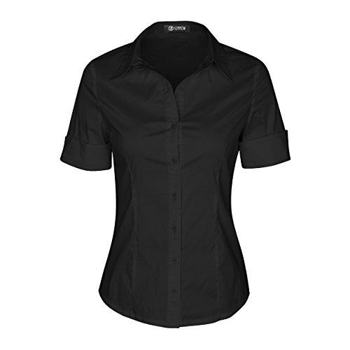 SUNNOW Modisch Damen Shirt Kurzarm Revers Schlank Hemd Arbeit V-Ausschnitt mit Knöpfe Casual Einfarbig Oberteil Bluse Sommer (EU 42, Schwarz)