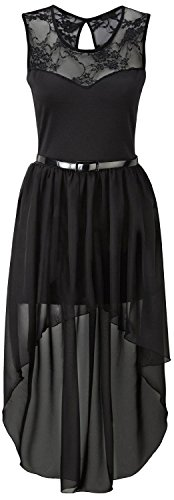 New Womens Plus Size Uneven Chiffon Dip Hem Lace Belted Prom Party Dress ( Black , UK 12-14 / EU 40-42 ) (Dress Belted Lace)