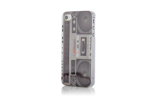 JAMMYLIZARD | Vintage Back Cover Hülle mit Muster für iPhone 4 und 4S, M9 FOTOAPPARAT KASSETTENRADIO