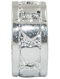Andante-Stones - 925 cuenta separadora de plata, bola con corazones tallados, elemento bola para cuentas European Beads + saco de organza