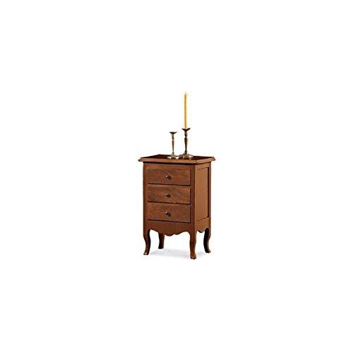 Comodino, stile classico, in legno massello e mdf - mis. 43x32x64h