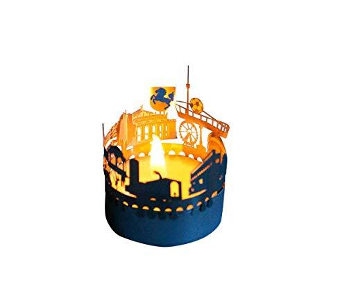 13gramm Stuttgart-Skyline Windlicht Schattenspiel Souvenir, 3D Edelstahl Aufsatz für Kerze inkl. Karte