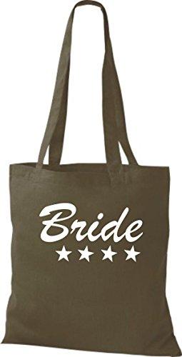Shirtstown Stoffbeutel JGA Bride Braut viele Farben olive