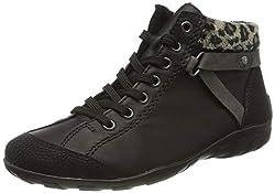 Rieker Damen L6527 Hohe Sneaker, Schwarz (Schwarz/Schwarz/Smoke/Leo-Natur 02), 39 EU