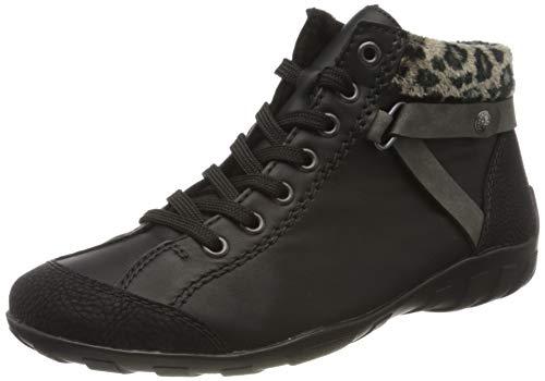 Rieker Damen Stiefeletten L6527, Frauen Schnürstiefelette, leger Stiefel Chukka Boot halbstiefel,schwarz/schwarz/Smoke/Leo-Natur / 02,41 EU / 7.5 UK