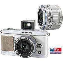 OLYMPUS Pen E-P1 blanc + zoom 14-42mm f/3,5-5,6 argent + 17mm f/2,8 Pancake argent + viseur VF-1 + Etui Syscase 2 DFV50 colt - noir + Carte mémoire SDHC 16 Go + Batterie compatible PS-BLS1 + Lecteur de cartes mémoire All-in-One
