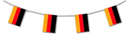 5m Outdoor-Wimpelkette * Deutschland * als Deko für Länder- und Firmen-Events | Lange haltbar aus Plastik hergestellt | Hochwertige Flaggen-Dekoration für Unternehmen, Motto-Party & Germany-Fans -