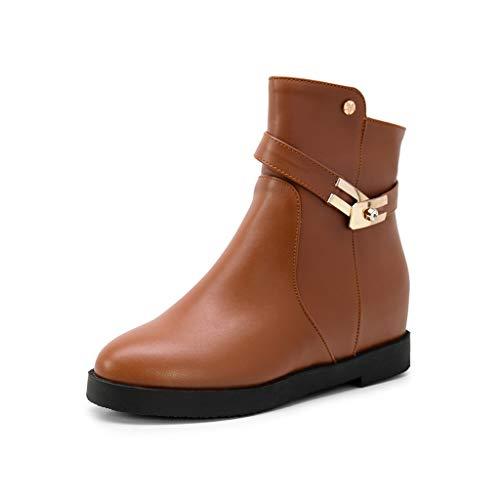 Bottes en métal à la mode pour femmes, bottes à fermeture à glissière épaisse, chaussures décontractées à tête ronde (43 EU, marron) par  showsing