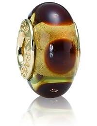 Pandora Damen-Bead  14 Karat (585) Gelbgold Muranoglaskugel braun KASI 75402