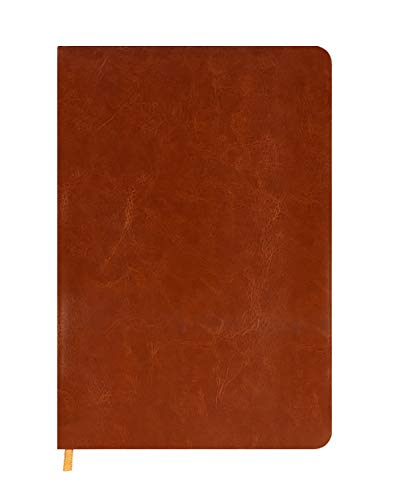 K.Chu Notizbuch mit weichem PU-Ledereinband, liniert, A5 klassisches Notizbuch, mit Lesezeichen, Hardcover, 215 x 148 mm, 80 g/m² dickes Papier, 140 Seiten, Braun, Schwarz, Blau, Orange. braun