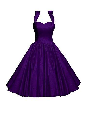 Find Dress Femme Elégant Robe de Soirée/Cocktail/Cérémonie Style Empire Décolleté au dos en Satin Elastique Pourpre