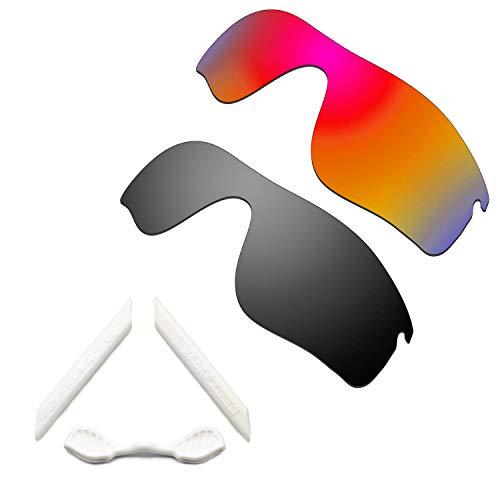 HKUCO Red/Black Polarized Replacement Lenses and White Earsocks Rubber Kit For Oakley Radarlock Path Sunglasses