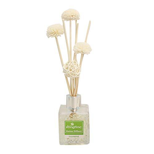 LONGFINE LF-217 Aromatherapie-Set ätherisches Öl Rattan Kein Feuer Reed Oil Diffusers mit Natural Sticks, Wasserwürfel Glasflasche und Duftöl 80ML -