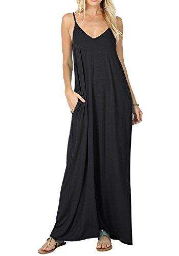 Baumwolle Damen Tasche (Bequemer Laden Damen Sommer V-Ausschnitt MaxiKleid mit Taschen Casual Flowy Bodenlanges Kleid Schwarz XL)