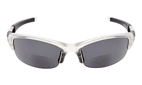 Eyekepper TR106 unzerbrechlich Halbrand Sport bifokale Sonnenbrille Baseball Laufen Angeln Fahren Golf Softball Wandern Lesebrille Klare Rahmen Graue Linse +1.75
