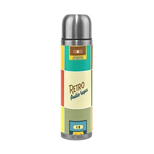 coosun Retro cintas de Audio matraces botella de agua de acero inoxidable aislado al vacío taza a prueba de fugas doble vacío botella de viaje taza térmica, de piel sintética, 17oz