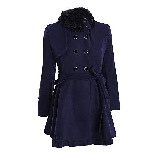 FIRSS Damen Double Breasted Mantel Pelzkragen Trenchcoat Taillenband Windbreaker Warme Dicker Lange Outwear Mode Elegante Jacke - Double Breasted Knit Blazer