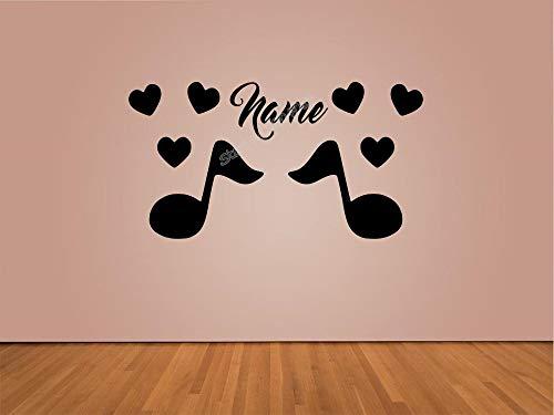 yiyiyaya Nota Musicale con Adesivo Love Wall Personalizza Nome Music Art Decal Kids Bedroom Soggiorno Music Store Sticker 60X30CM