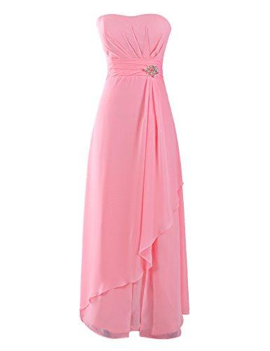 Dresstells, Robe de soirée de mariage/cérémonie/demoiselle d'honneur mousseline forme princesse sans bretelles avec emperler Rose