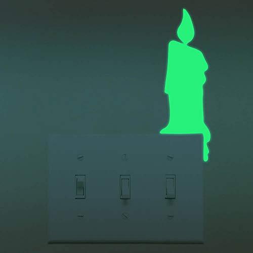 2 Stück Leuchtaufkleber Leuchtsticker Für Lichtschalter Steckdose Fluoreszierend Wandaufkleber Wandtatoo leuchtend im Dunkeln Kinderzimmer Schlafzimmer DIY selbstklebend Wandsticker (Kerze) - Zwei Kerzen Wand