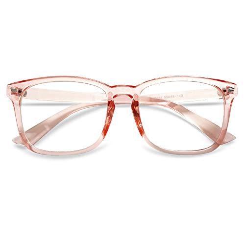 KOOSUFA Brille Ohne Sehstärke Herren Damen Federscharnier Nerdbrille Klassische Retro Brillengestelle Brillenfassung Optische Stärke Rahmen Fake Brille Mit Etui (Transparent Rosa)