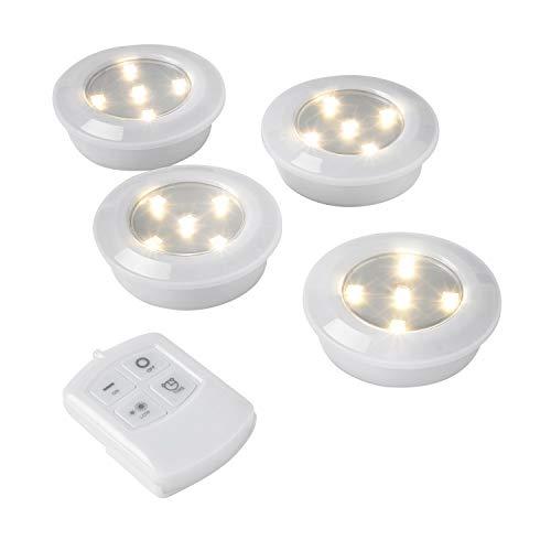 Lights4fun - Set di 4 Lampade di Supporto con Accessione a Pressione, Telecomando e Regolatore di Intensità