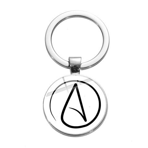 Inveroo Atheismus Atom Keychain Einzigartiges kreatives Design Atheismus Symbol Glas Cabochon Edelstein Anhänger Schlüsselanhänger Zubehör Atheist Geschenk