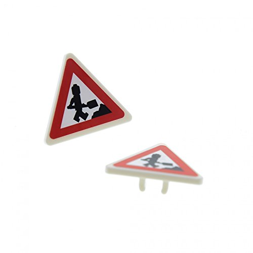 Preisvergleich Produktbild 2 x Lego System Verkehrs Schild weiss rot City Zeichen 2 x 2 mit Clip Dreieck Achtung Baustelle Bauarbeiter Aufkleber für Set 7631 892pb016