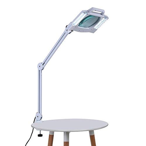 Lupenlampe,Tischleuchte mit 5X Lupe faltbare Schönheitslampe mit Freisprechfunktion Tischlupe mit LED Beleuchtung für medizinischen Salon der Desktop Workbench Beauty