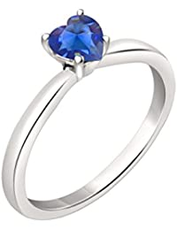 Silvernshine 7mm Heart Cut Sapphire Solitaire Engagement Ring 4 Prong In 14K White Gold Plated