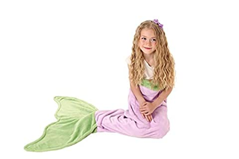 Couverture queue de sirène - Couverture en tissu super doux & chaud en polaire de Cuddly Blankets - cadeau parfait pour les enfants et les adolescents (3-12 ans) (Violet & Vert)