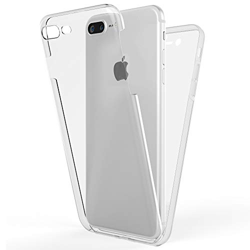 NALIA 360 Grad Handyhülle kompatibel mit Apple iPhone 8 Plus / 7 Plus, Full-Cover Silikon Bumper mit Displayschutz vorne Hardcase hinten, Hülle Doppel-Schutz Dünn Case Handy-Tasche, Farbe:Transparent