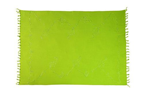 Ca 48 Modelle Sarong Pareo Wickelrock Strandtuch Handtuch Lunghi Dhoti ca. 170cm x 110cm mit Toller Stickerei Handarbeit viele Modelle Hell Grün