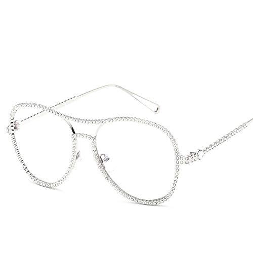 MJDABAOFA Sonnenbrillen,Neue Blink Oval Glatte Gläser Silber Rahmen Transparent Linse Mode Mit Großem Rahmen Elegance Lady Spiegel Plain Gläser Strahlenschutz Gläser Uv 400