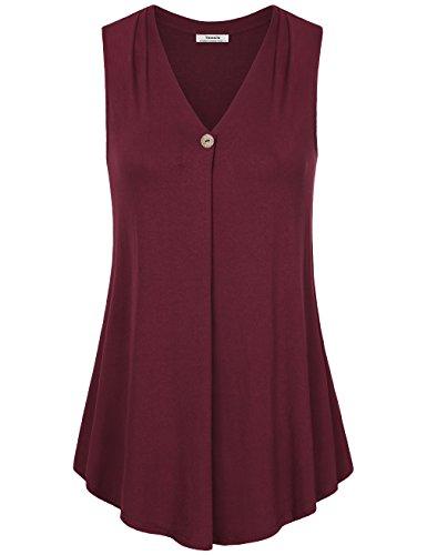 Youtalia Frauen ärmelloses einfarbiges Shirt, V-Ausschnitt, A-Linie, locker sitzendes Tank-Top, auch für Büro Rotwein L (Camis Baumwolle Elasthan Rot)