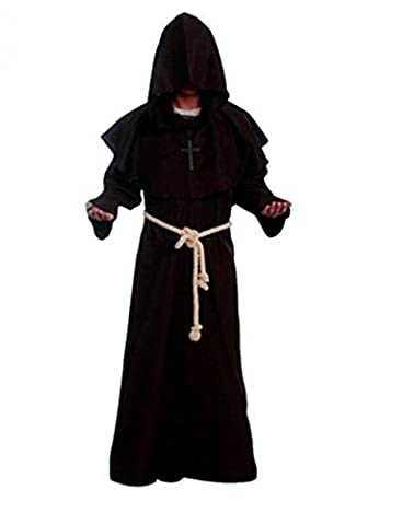Costume for The Medieval Monks Priest Robe Hooded Cosplay Various Styles … (XX-Large, Coffee)