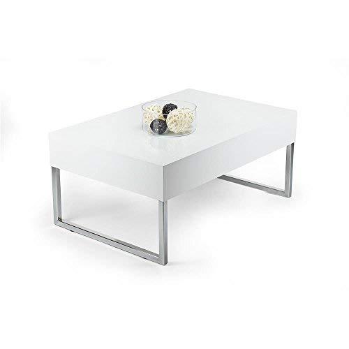 Mobilifiver Table Basse, Evo XL, Blanc Brillant, 90 x 60 x 40 cm, Mélaminé/Fer Chromé, Made in Italy