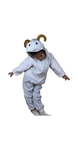 Matissa Kinder Tierkostüme Jungen Mädchen Unisex Kostüm Outfit Cosplay Kinder Strampelanzug (Ziege, L (Für Kinder 105 - 120 cm groß))
