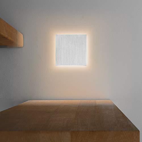 LED Treppenbeleuchtung aus Aluminium und Plexiglas für Schalterdoseneinbau 68mm - Quadratisch - Eckig -Warmweiß 3000k [Stufenbeleuchtung - Wandbeleuchtung - indirekt] -